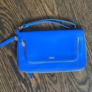 NWOT TUMI Blue Leather Wristlet Wallet